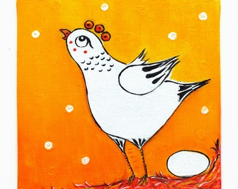 The hen and the egg - original acrylic painting on canvas for children