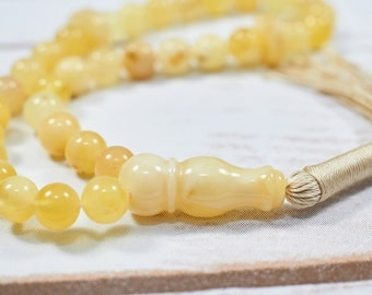 Natural Baltic Amber Tasbih Exclusive Islamic Prayer Amber Muslim Tasbih 33 Amber Tasbeeh Yolk Colour 33 Beads White Amber Worry Beads
