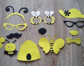 "Accessories photobooth x 13 ""honey and bees"" yellow and black"