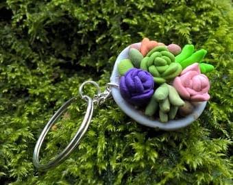 Miniature Succulent Garden Key Chain