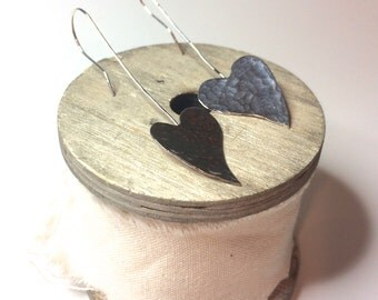Sterling Silver Hammered Heart Long Earrings, Hammered