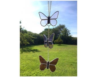 Stained glass Pink three Butterfly Suncatcher Decoration