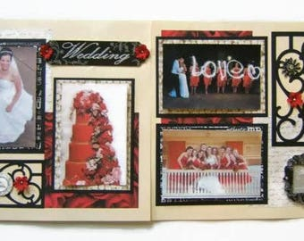 Wedding Scrapbook pages - Premade Red Wedding Layouts - Wedding Scrapbook Layouts - Premade Red Wedding Pages - Red Black and White Wedding