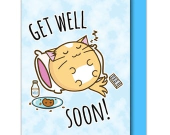 Get Well Soon Cat Greeting Card Pillow Food Recover Hospital Ill friend Funny Cute Humor Kawaii Kitty Fuzzballs Gift Idea For Her Present