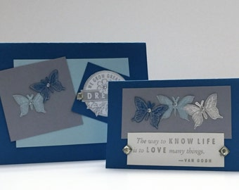 Handmade Cards - Butterflies - handstamped All Occasions Card Set - Blue/Turquoise - Inspirational