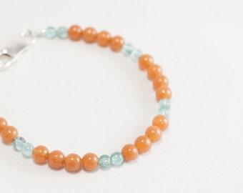red aventurine + apatite + sterling silver bracelet
