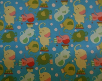 Elephants Westminster circus print fabric by the yard