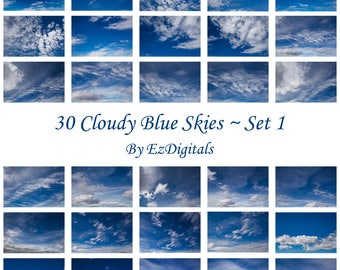 30 cloudy blue sky overlay photo replacements digital skies Set 1
