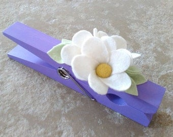 Giant clothespin, giant peg, oversized peg, gift for office, peg paperholder, wooden peg, office accessory, felt flowers, painted peg