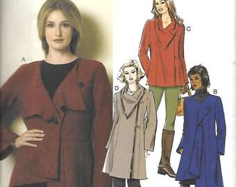 Miss Asymmetrical Collar Jackets/Coats, Sizes Lrg, Thru XXL, New Butterick Pattern 6140
