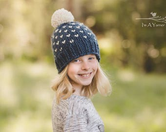 Blue Beanie, Chunky Hearts Hat, Blue and White Pom Pom Hat, Knit Hat for Kids, Pompom Hat, Baby Beanie, Toddler Winter Hat, Children's Hat