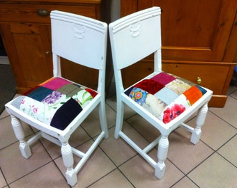 Two shabby chic, patchwork chairs