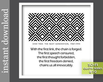 Star Trek Quote, Star Trek printable, sci fi printable, sci fi gift, sci fi art, geometric op art, Picard quote, civil rights, dorm art