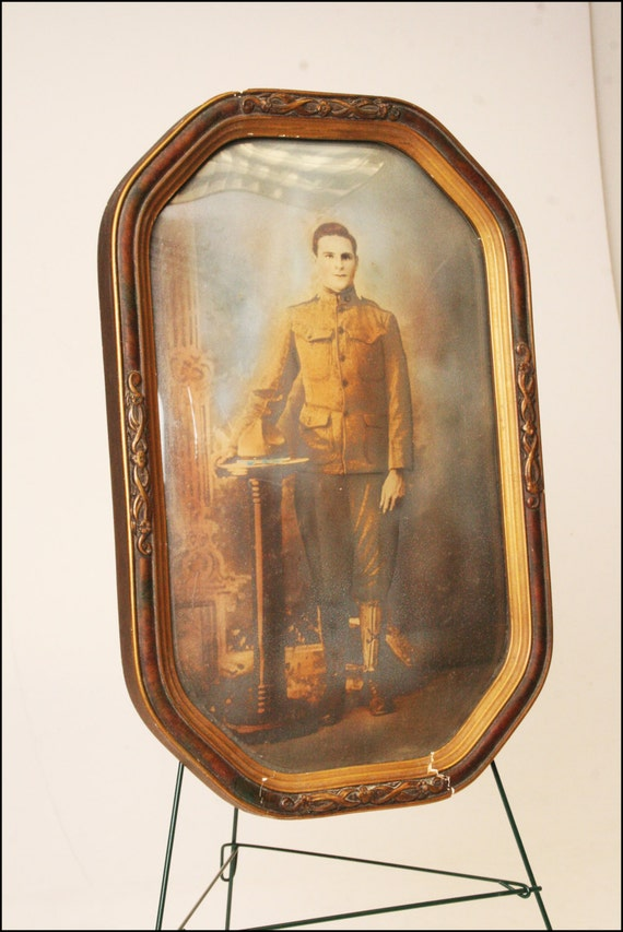Victorian Picture Frame Wood Antique Vintage Military Man