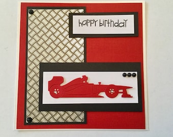 Handmade racing car birthday card
