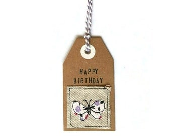 Happy Birthday personalised fabric gift tags, butterfly applique, free motion embroidery, butterfly fabric tags, birthday tags, tags for her