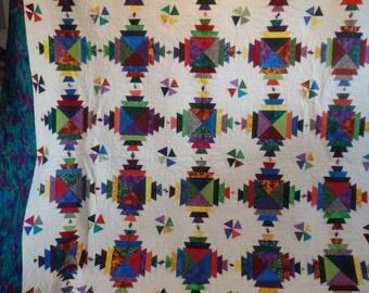 modern quilt, pineapple quilt, queen size quilt, handmade quilt