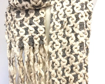 Oatmeal Scarf, Neutral Fringed Scarf, Crochet Scarf, Knitted Scarf, Valentine gift, Gift For Her, Color Options