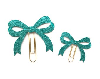 Teal Glitter Bow Paper Clip