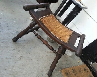 Clearance Vintage furniture stool bench wood and caning