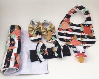 Baby girl gift set, pacifier bib and burp cloth, baby shower gift, baby bib with gold, newborn gift, baby shower present, newborn present