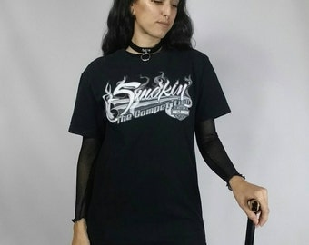 "Vintage 1990s Harley Davidson ""Smokin' The Competition"" Black Tshirt size S-L (bust 38"")"