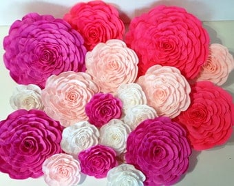 10 crepe paper flowers Giant large wall wedding backdrop bridal kate shower baby spade nursery wall pink gold White black