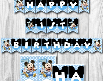 Baby MICKEY MOUSE Birthday Banner, Baby Mickey Mouse Banner, Mickey Mouse 1st Birthday Banner, Mickey Mouse Banner, PRINTABLE
