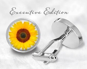 Cufflinks - Sunflower Cufflinks - Flower Cuff Links - Nature Cufflink - Wedding Gift for Him (Pair) Lifetime Guarantee (S0538)