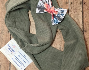 Infinity Scarf || Sage Green Waffle Knit Fabric || Toddler Baby Girl Scarf