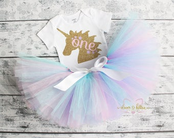 Unicorn First Birthday Outfit - First Birthday - Girl Birthday - 1st Birthday - Tutu - Pink Gold Birthday - One - Cake Smash - Photo Prop