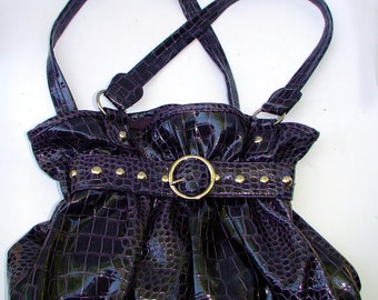 Dark Purple faux alligator Purse