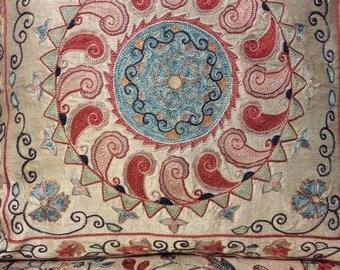 Suzani handmade pillow, pillowcase,pillow cover from Uzbekistan.