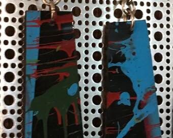 Colorful splatter painted vinyl earrings