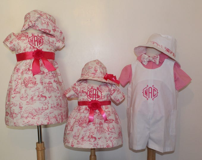 Sibling matching outfits, Easter boy romper,baby girl easter dress, Easter hats, girl purse, Pink and white ,dress,shirt, panties, bow tie