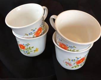 Vintage Corelle Wildflower Mugs, Set of Four, Coffee Cups, Tea Cups
