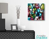 Abstract art mixed media by Marika Lemay mixed media artist flowers nature turquoise red