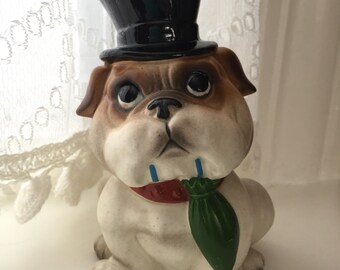Vintage Ceramic Bulldog with Top Hat and Umbrella