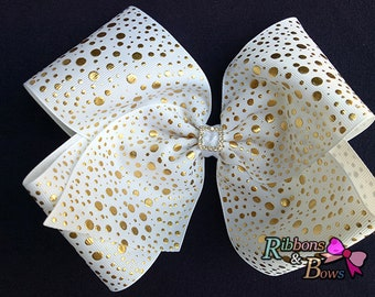"Girls JoJo Siwa inspired white with gold dot 7"" Rhinestone handmade Hair Bow Clip"