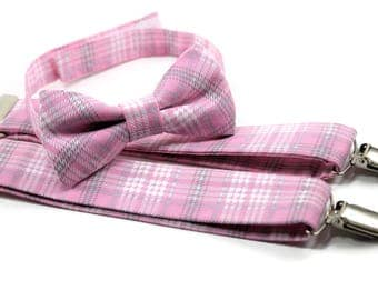 Pink and grey/gray plaid bow tie and suspenders set for boys, men, babies, toddlers and youth.