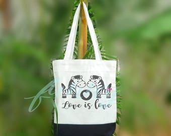 Zebra tote bag 2 size Two tone off-white/black Beach tote bag Market bag