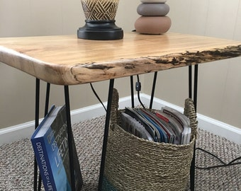 Wood Slab End Table with Hairpin legs.