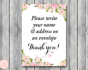 Wedding Thank you return address, Write your name and address on an envelope sign, Printable sign, Wedding decoration sign wd67 Sign TH18