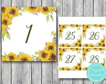 Sunflower Summer Wedding Table Numbers Printable, DIY Table Number Sign, Wedding Table Numbers - Digital File, DIY Print TN30