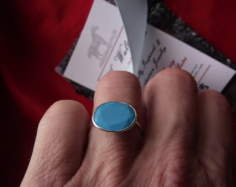 R-0073 - Sterling Silver Turquoise Ring - Georgian Rings, Regency Ring, Turquoise Ring