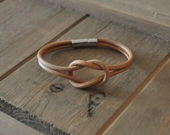 INFINITY genuine leather bracelet for men women, BLACK or TAN brown boho retro vintage style wristband gift idea handmade nieskończoność