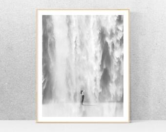 Black and white photography, printable art, waterfall, minimalist art, printable wall art, gray print, minimalist home decor, design poster