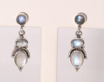 Rainbow Moonstone| Rainbow|Three Stone| set in Sterling Silver| 925| SS |One of a Kind|  et166