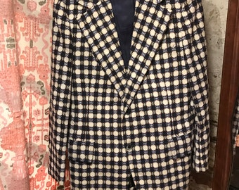 Vintage Blue and White Patterned Blazer with Pockets