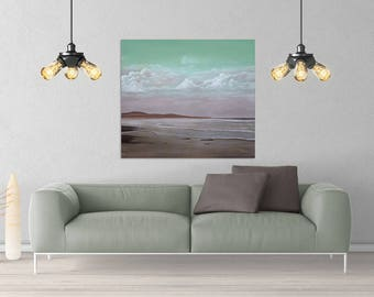 Original oil on canvas painting. Beach scene.